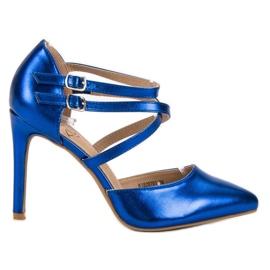 Kylie Błyszczące Szpilki Fashion niebieskie