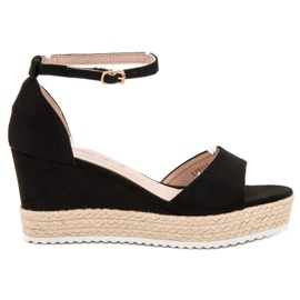 Sweet Shoes czarne Sandały Espadryle