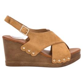 SHELOVET Zamszowe Sandały brązowe