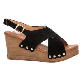 SHELOVET czarne Zamszowe Sandały