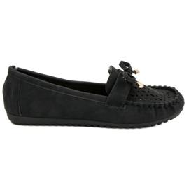 Top Shoes Czarne Ażurowe Mokasyny