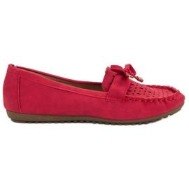Top Shoes Czerwone Ażurowe Mokasyny