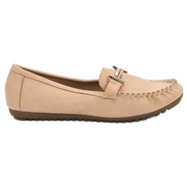 Top Shoes brązowe Beżowe Mokasyny Damskie