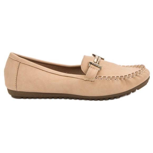 Top Shoes Beżowe Mokasyny Damskie brązowe
