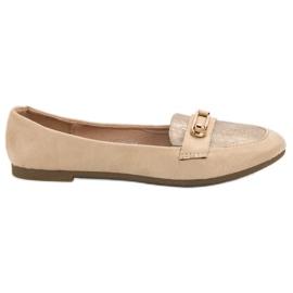 Top Shoes Stylowe Baleriny brązowe