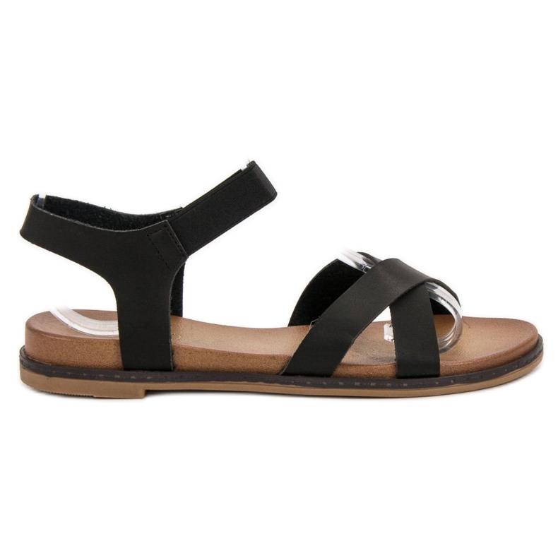 SHELOVET Wsuwane Sandałki czarne