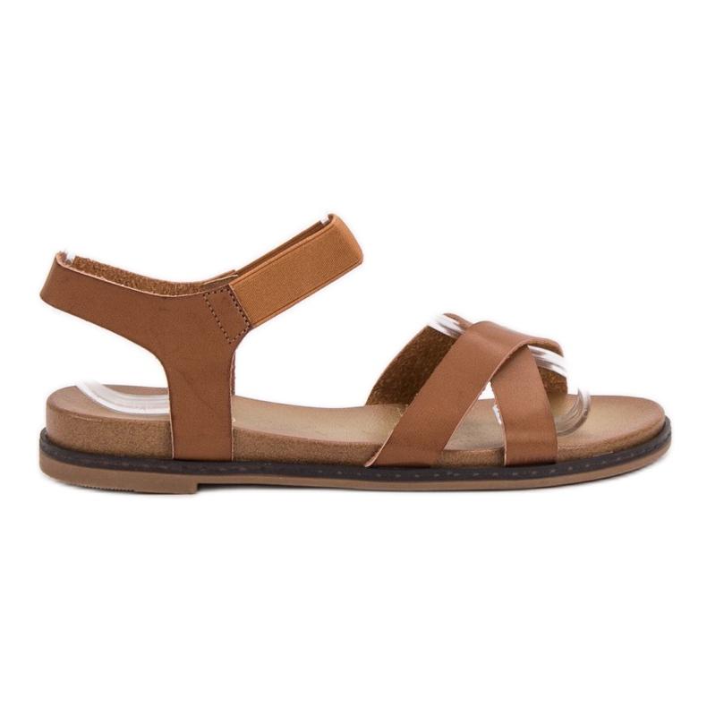 SHELOVET Wsuwane Sandałki brązowe