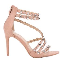 SHELOVET Seksowne Sandały Na Szpilce brązowe