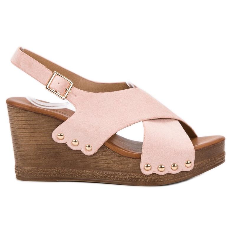 SHELOVET Zamszowe Sandały różowe