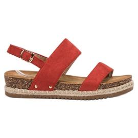 Bestelle Sandałki Z Brokatem czerwone