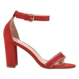 Abloom czerwone Sandałki Z Kryształkami