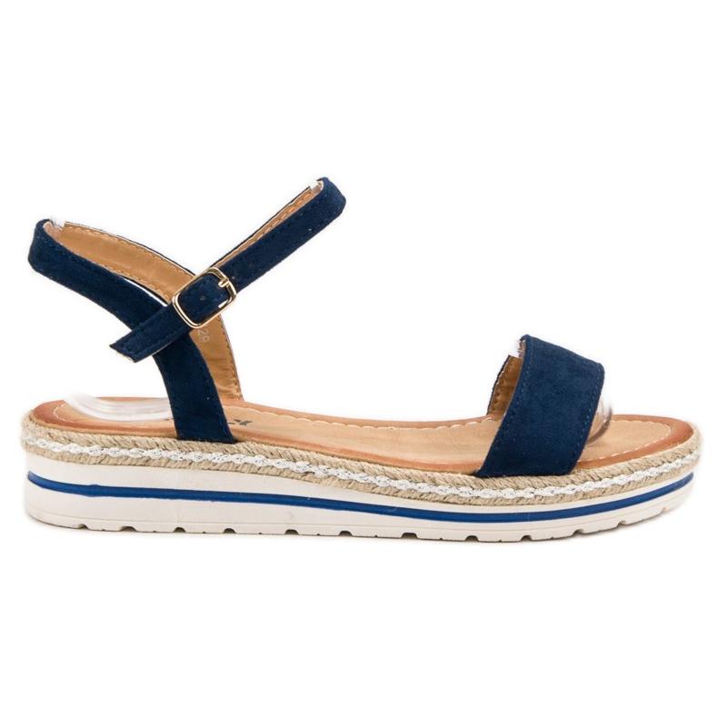 EXQUILY Granatowe Sandałki niebieskie