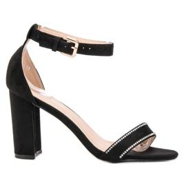 Abloom czarne Sandałki Z Kryształkami