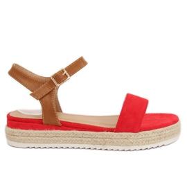 Sandałki espadryle czerwone Y-8224 Red