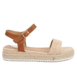 Sandałki espadryle beżowe Y-8224 Beige brązowe