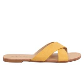 Klapki damskie żółte 930 Yellow