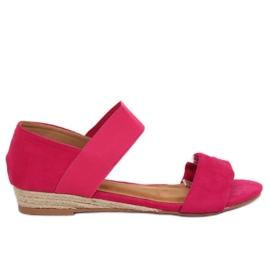 Sandałki espadryle fuksjowe 9R71 Rose różowe