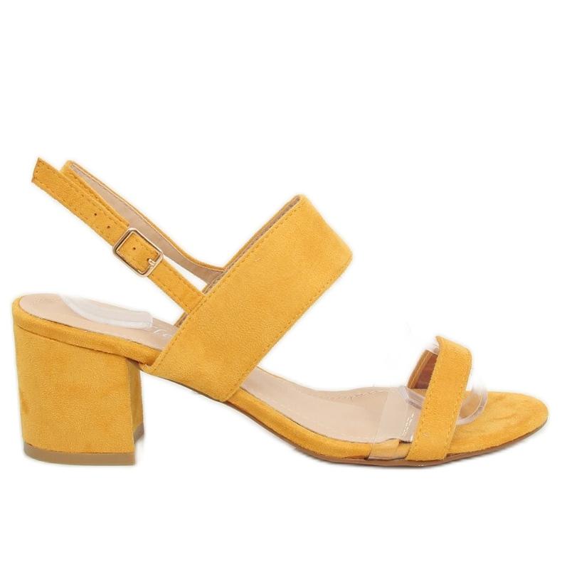 Sandałki na obcasie żółte 660-1/SA-2 Yellow