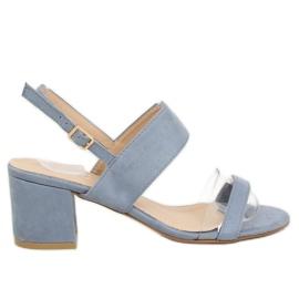 Sandałki na obcasie niebieskie 660-1/SA-2 Blue