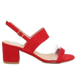 Sandałki na obcasie czerwone 660-1/SA-2 Red