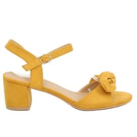 Sandałki na obcasie żółte FH-3M22 Yellow