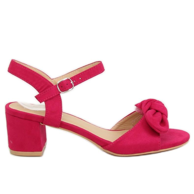 Sandałki na obcasie fuksjowe FH-3M22 Fuchsia różowe