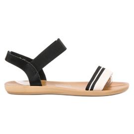 SHELOVET Płaskie Sandałki Z Gumką czarne