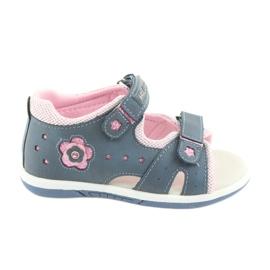 Sandałki dziewczęce American Club DR20 denim niebieskie różowe