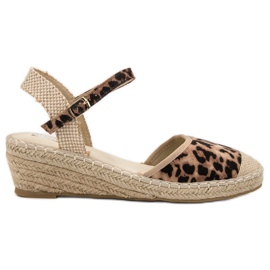 Best Shoes Espadryle Na Koturnie brązowe