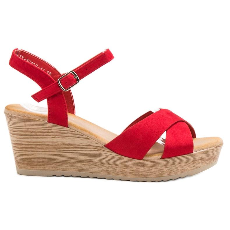 Best Shoes Lekkie Zamszowe Sandały czerwone
