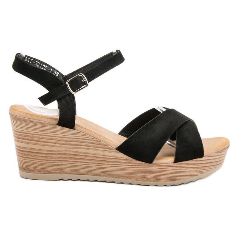 Best Shoes Lekkie Zamszowe Sandały czarne