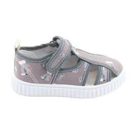 American Club szare buty dziecięce na rzepy TEN 27/19
