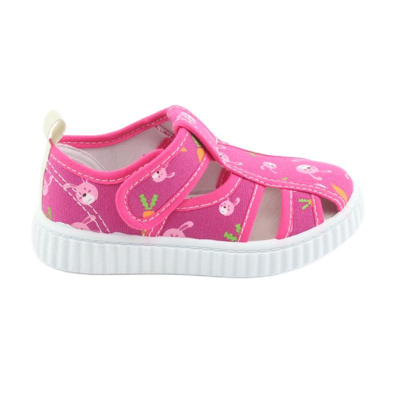 American Club buty dziecięce na rzepy różowe TEN 27/19