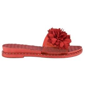 Anesia Paris czerwone Gumowe Klapki Z Kwiatami