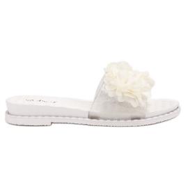 Anesia Paris białe Gumowe Klapki Z Kwiatami