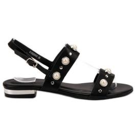 Kylie Wygodne Czarne Sandały