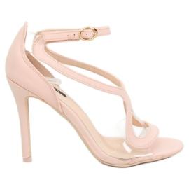 Sandałki na szpilce różowe 1442 Pink