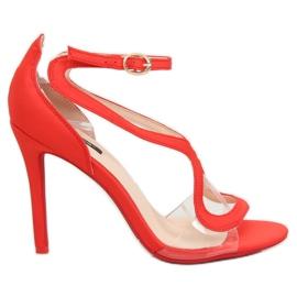 Sandałki na szpilce czerwone 1442 Red