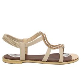 Brązowe Sandałki asymetryczne beżowe GD4157 Beige
