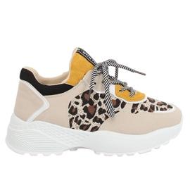 Brązowe Buty sportowe beżowe BL170P Leopard Print