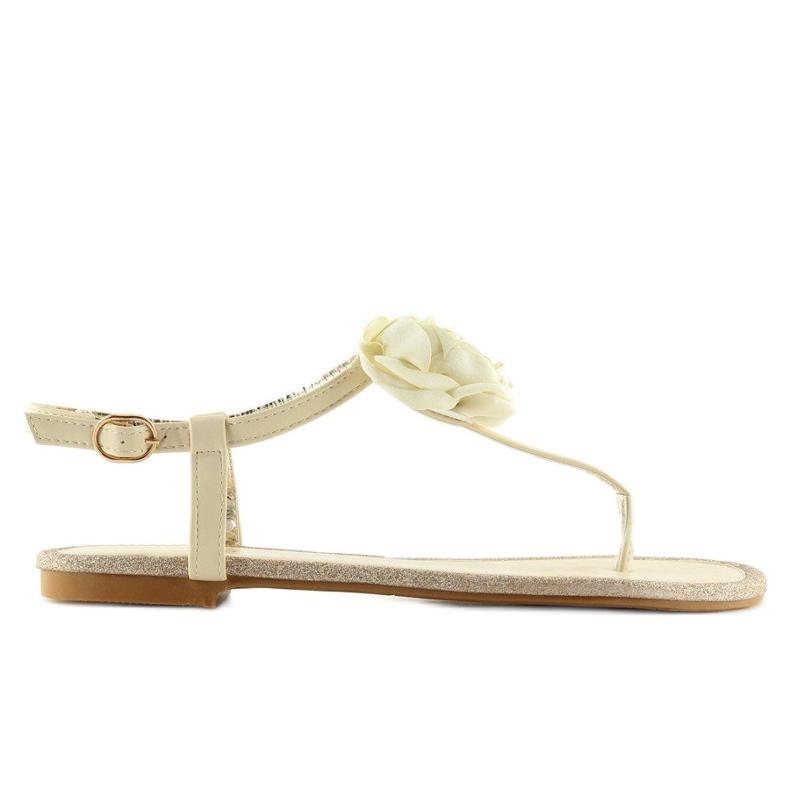 Sandałki japonki z kwiatem beżowe T314P Beige brązowe