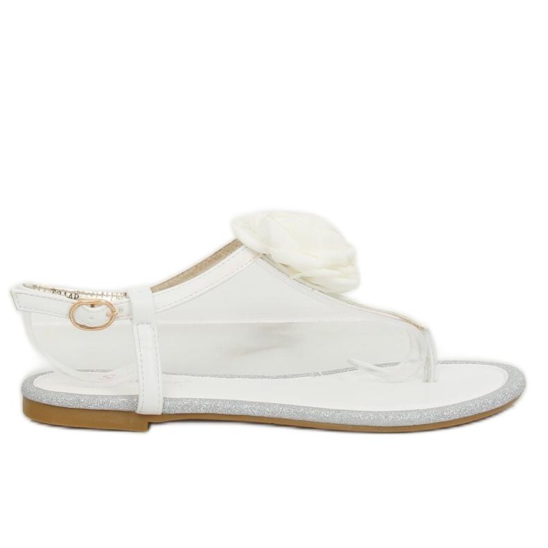 Sandałki japonki z kwiatem białe T314P White