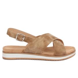 Sandałki damskie beżowe 1495 D.BEIGE brązowe