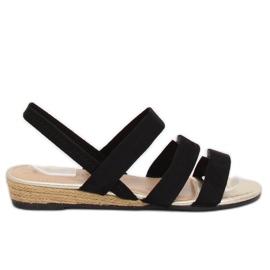 Sandałki espadryle czarne SM007 Black