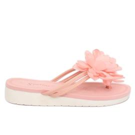 Japonki z kwiatem różowe CK103 Pink