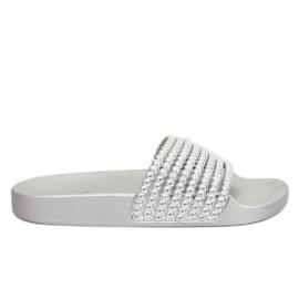 Szare Klapki z koralikami srebrne G301 Silver