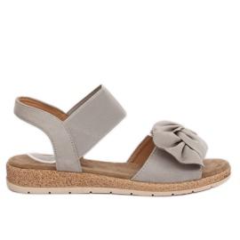Sandałki damskie z kokardą szare F3055 Grey