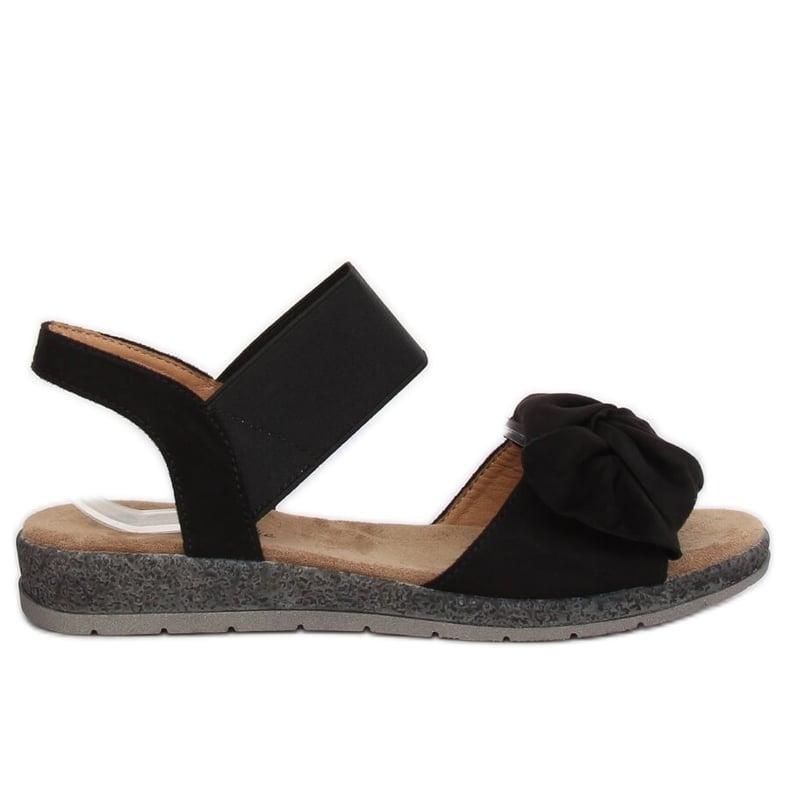 Sandałki damskie z kokardą czarne F3055 Black