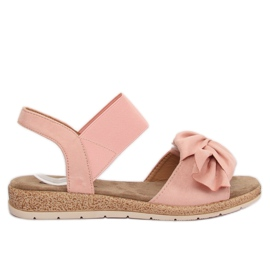 Sandałki damskie z kokardą różowe F3055 Pink