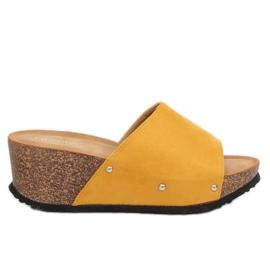 Klapki na koturnie żółte GU56 Yellow